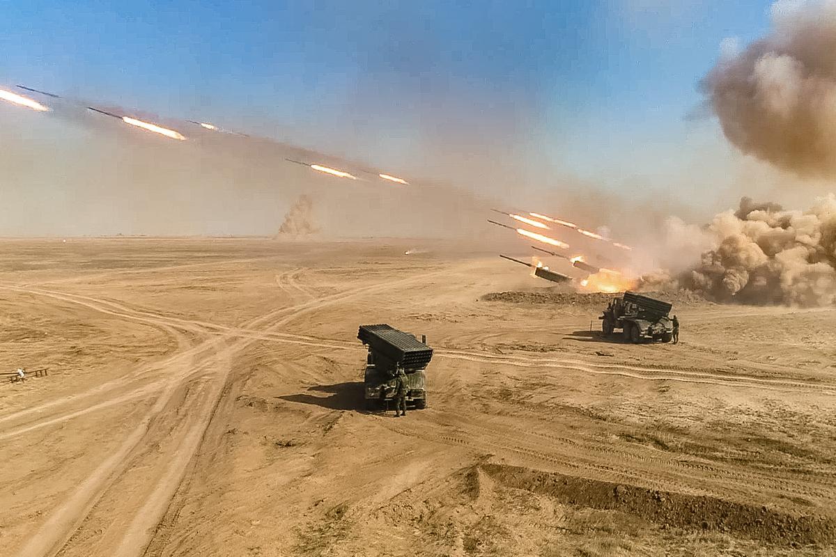 BM-21s firing Kapustin Yar