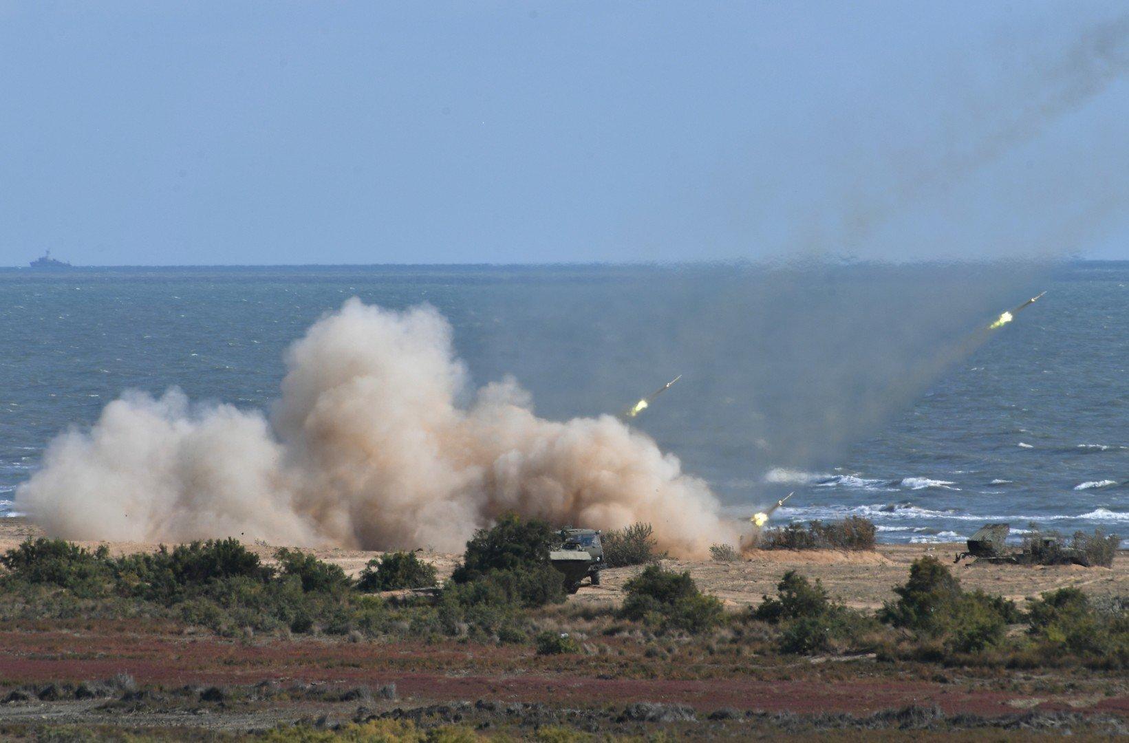 MLRS firing